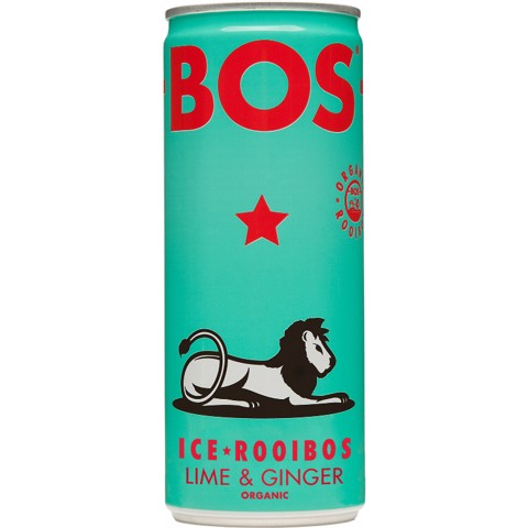 BOS Ice Tea Lime & Ginger blik tray 12x0,25L
