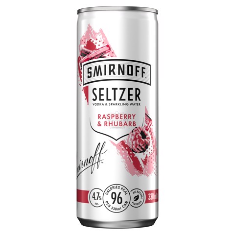 Smirnoff Hard Seltzer Raspberry & Rhubarb tray 12x0,25L