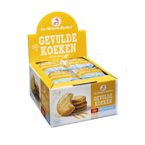 De Molen Gevulde Koek p/st verpakt doos 30x50gr