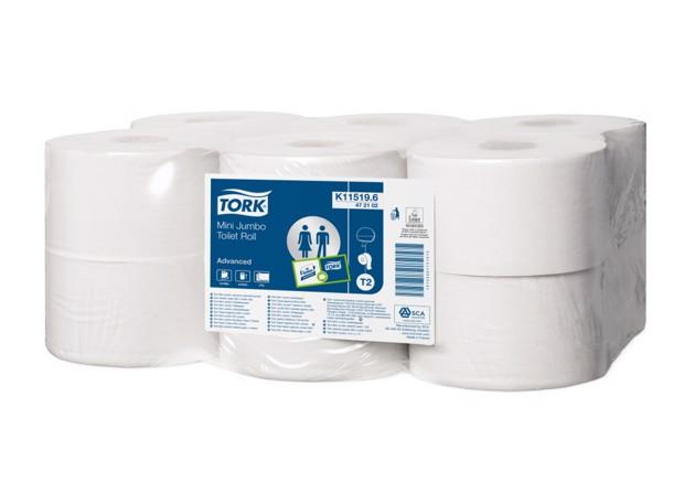 Tork T2 Mini Jumbo Toiletpapier 2-l pak 12st