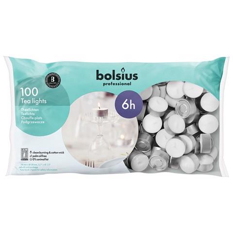 Bolsius Theelicht 6 uur Wit    zak 100st