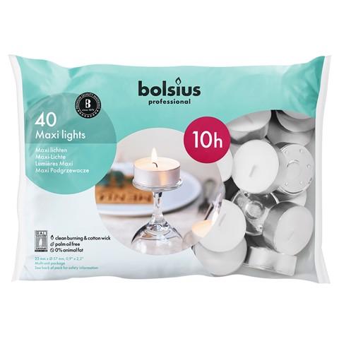 Bolsius Maxilicht 10 uur Wit    zak 40st